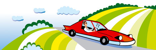 Travel in car. Illustration Royalty Free Stock Image