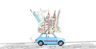 Travel by car. Around the world travel memories. Blue retro toy car with famous monuments on roof Royalty Free Stock Image