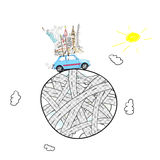 Travel by car. Around the world travel memories. Blue retro toy car with famous monuments on roof at cartoon planet Stock Photo