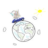 Travel by car. Around the world travel memories. Blue retro toy car with famous monuments on roof at cartoon planet Royalty Free Stock Photography