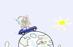 Travel by car. Around the world travel memories. Blue retro toy car with famous monuments on roof at cartoon planet Stock Photography