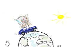 Travel by car. Around the world travel memories. Blue retro toy car with famous monuments on roof at cartoon planet Stock Images