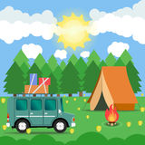 Travel car campsite place landscape. Forest, sun, flower and bon. Fire. Vector illustration in flat style Stock Image