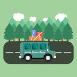 Travel car campsite place landscape. Forest, trees, fir tree and. Road. Vector illustration in flat style Royalty Free Stock Images