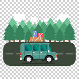Travel car campsite place landscape. Forest, trees, fir tree and. Road. Vector illustration in flat style Stock Photos