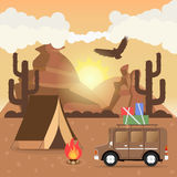 Travel car campsite place landscape. Mountains, desert, cactus,. Eagle and bonfire. Vector illustration in flat style Stock Photo