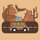 Travel car campsite place landscape. Mountains, desert, cactus,. Eagle and road. Vector illustration in flat style Royalty Free Stock Photos