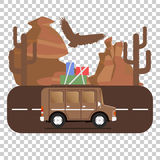 Travel car campsite place landscape. Mountains, desert, cactus,. Eagle and road. Vector illustration in flat style Royalty Free Stock Photo