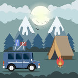 Travel car campsite place landscape. Mountains, night forest, bi. Rds, boon and bonfire. Vector illustration in flat style Stock Image