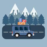 Travel car campsite place landscape. Mountains, trees, fir tree,. And road. Vector illustration in flat style Stock Images