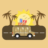 Travel car campsite place landscape. Palm, birds, sun, beach, an. D road. Vector illustration in flat style Stock Photos