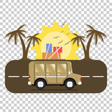 Travel car campsite place landscape. Palm, birds, sun, beach, an. D road. Vector illustration in flat style Royalty Free Stock Photo