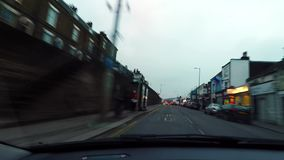 Travel by the car on city road of Dover. In cloudy weather stock video
