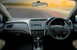 Travel in car. Element of design. the steering wheel inside of a. Car Royalty Free Stock Photography