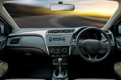 Travel in car. Element of design. the steering wheel inside of a. Car Royalty Free Stock Images