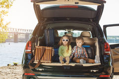 Travel by car family trip together vacation Stock Photos