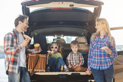 Travel by car family trip together vacation. Travel by car family together destination arrival picnic royalty free stock photography