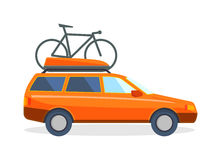 Travel by car flat summer vacation vector illustration. Travel car family vacation and journey travel orange car. Travel car with bicycle tourism luggage Stock Images
