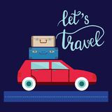 Travel car illustration with luggage and lettering let s travel. Summer holiday concept in flat design and text Royalty Free Stock Image