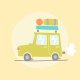 Travel car illustration. Vector hand drawn illustration Royalty Free Stock Photos