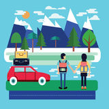 Travel car with luggage and Couple of traveler with Backpacks. Standing and look at beautiful landscape Stock Images
