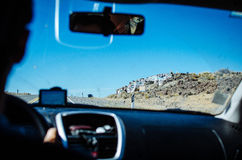Travel in Car. On the mountain road Stock Photos