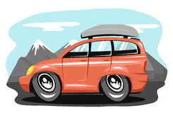 Travel car. Red travel car.  Vector illustration Royalty Free Stock Photo