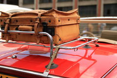 Travel by car. Suitcase ready for a long journey by car Royalty Free Stock Photos