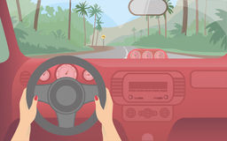 Travel by car to the exotic island. Royalty Free Stock Images