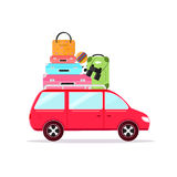 Travel Car Tourism and Vacation. Vector. Travel Car Concept Tourism and Vacation Together Flat Design Style. Vector illustration Royalty Free Stock Photos
