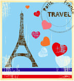 Travel card. Retro Travel card - Paris. France Stock Images