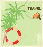 Travel card. Retro Travel card - Palm and Toucan Royalty Free Stock Photos