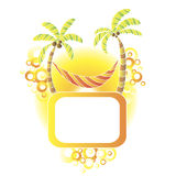 Travel card. Vector background with palms and hammock Royalty Free Stock Photo