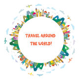 Travel card with airplanes and mountains. Funny design royalty free illustration