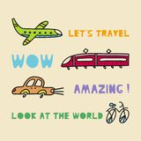 Travel card concept with transport and text. Doodle style stock illustration