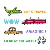 Travel card concept with transport and text. Doodle style royalty free illustration