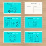 Travel card design template. Creative lifeline,  moped, travel  Stock Photo