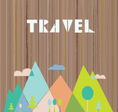 Travel card with nature and mountains Royalty Free Stock Photos