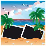 Travel card with two photo frame,  Royalty Free Stock Photo