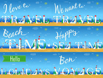 Travel cards. Artistic font. Summer beach Royalty Free Stock Image