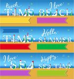 Travel cards. White houses on the summer beach stock images