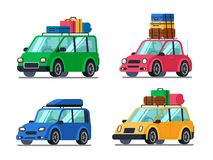 Travel cars. Car with tourism gear and baggage for family travels. Hybrid passenger vehicle flat vector illustration set royalty free illustration