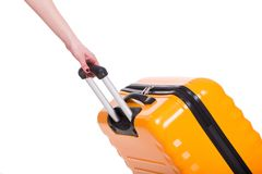 Travel case and hand isolated on white close up Stock Image