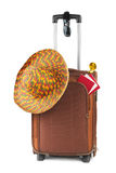 Travel case, hat, compass and sunglasses Stock Photo