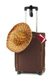Travel case, hat and sunglasses stock photo