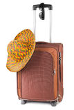 Travel case, hat and sunglasses Royalty Free Stock Images