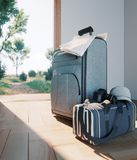 Travel case with open door travel vacation concept. Background Royalty Free Stock Photography