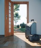 Travel case with open door travel vacation concept. Background Stock Images