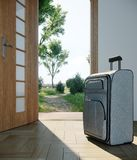 Travel case with open door travel vacation concept. Background Stock Photo