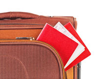 Travel case, passport and ticket Royalty Free Stock Photo